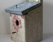 "Vintage Broken China Ceramic Shards ""Wild Rose"" Dish, Cottage Chic Painted Birdhouse"