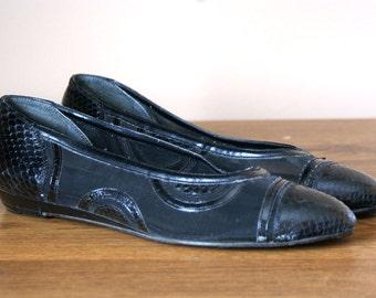 Net See Thru Cap Toe Black Ballet Flats 8.5