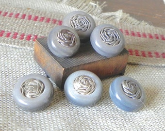 Vintage 1940s buttons grey plastic with fabric rosette inserts - 6 of them