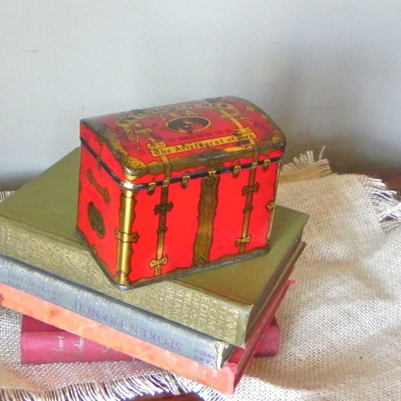 Vintage red tea tin - red Swee touch nee - shaped like a trunk metal painted