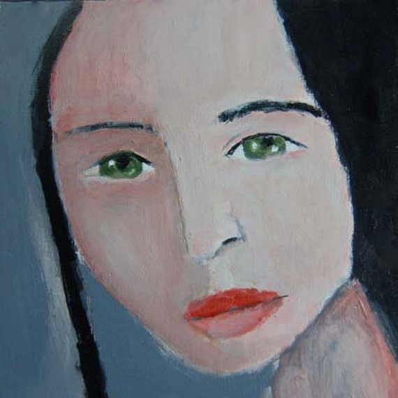 Acrylic Portrait Painting Girl, Face, Black, Gray 6x6 canvas board
