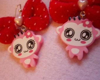 20% OFF Kawaii Pink Monkey Girl Red Bow Earrings