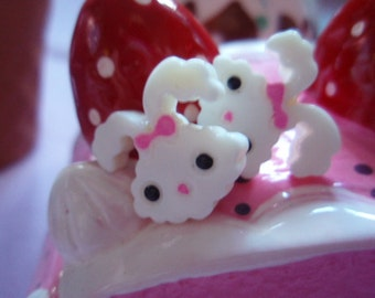 Kawaii White Bunny Stud Earrings