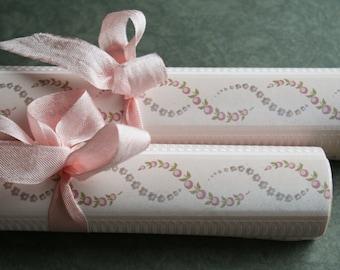 Vintage French Pink Moire Rosebud Wallpaper Roll -  Pink Vintage Collage Paper - Rosebud Vintage Wallpaper - Valentine DIY