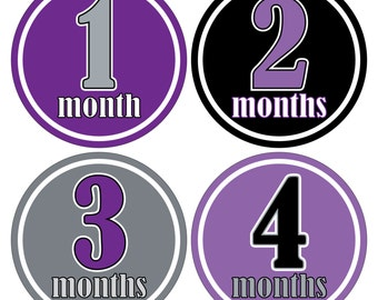 12 Monthly Baby Milestone Waterproof Glossy Stickers - Just Born - Newborn - Weekly stickers available - Design M003-07