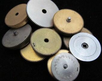 12 Antique Vintage Clock Watch Parts Cogs Gears Assemblage Steampunk Industrial Art Goodies CG 17
