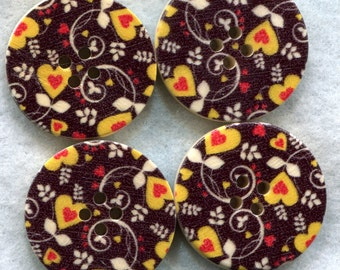Black Hearts Buttons Decorated Funky Wooden Buttons 30mm (1 1/4 inch) Set of 4 /BT198