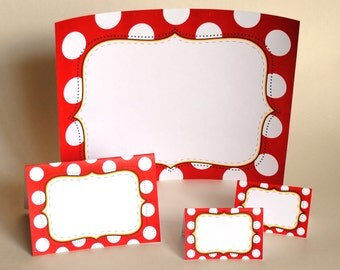 INSTANT DOWNLOAD (Digital) Editable Food Signs, 3 sizes - Inspired by Minnie Mouse - Red, Black and White with Polka Dots