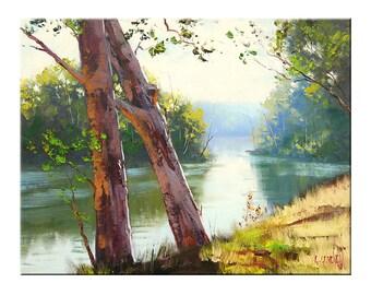 TUMUT RIVER Oil Painting landscape fine art by G.Gercken