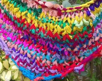 Triangular Chunky Knit Georgette Scarf