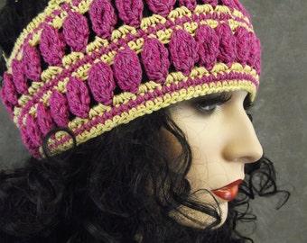 Crochet Skullcap,Extra-Large,Accessory,Women,Hats,Pink Cap,Cotton Hat,