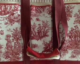 Red Toile Country Travel, Craft, Garden and Baby Tote Bag, for Knitting and all Craft Projects