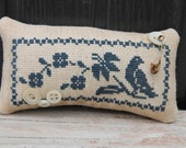 Blue Bird and Flowers Cupboard Tuck Pin Cushion in Rustic Blue Home & Living