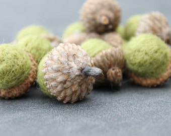Wool Needle Felted Acorns in Moss Green Set of 16 Home and Living