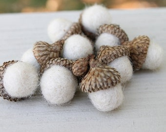 Set of 10 Wool Felted Acorns in Off White Rustic Home Decor Home and Living