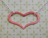 copper hanging heart necklace - Valentine's Day gift