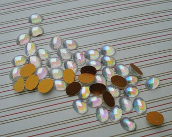 Vintage 8x6mm Clear AB Fire Polished Gold Foiled Flat Back Oval Glass Cabs (6 pieces)