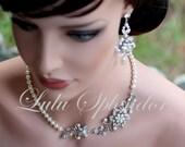 Bridal Pearl Necklace Wedding Necklace Vintage Bridal Necklace Rhinestone Flower Wedding Jewelry White Ivory Pearl SABINE GARDEN