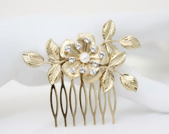 Gold Bridal Comb Gold Flower Comb Small Hair Piece Gold Wedding Comb Wedding Hair Accessories Bridal Pearl Hair Comb LISSE