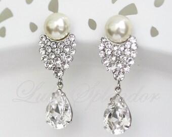 Pearl Wedding Earrings Crystal Bridal Pearl Earrings Vintage Bridal Earrings Swarovski Wedding Jewelry  HELSINKI