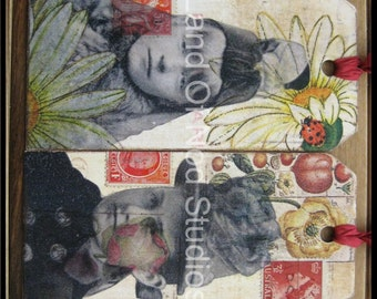 2 Original Altered Art Collage tags Faces from the Past SALE