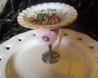 Restructured Vintage Cupcake Stand Ceramic Plate Glass Metal Pink Wedding Medieval Theme