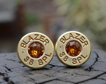 Bullet Earrings stud earrings or post earrings Blazer .38 special earrings gold earrings bullet jewelry gift for her with Swarovski crystals