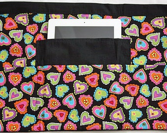 Vendor Half Apron Waist Craft Teacher Art iPad Colorful Hearts Fabric (4 Pockets)