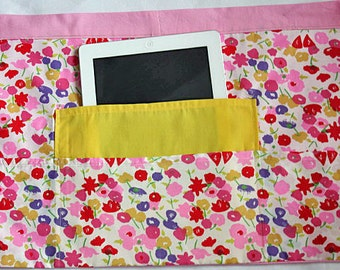 Half Waist Apron Teacher Vendor Art Craft  iPad Yellow Pink Spring Flowers Fabric (4 Pockets)