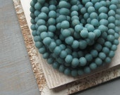 Glass beads  Matte dark truquoise  Uneven round glass beads Rustic beads from Indonesia  -  6 to 8 mm / 30 pcs  - 2Cbgl240