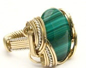 Handmade Wire Wrapped VintageTwo Tone Sterling Silver/14kt Gold Filled Malachite Ring