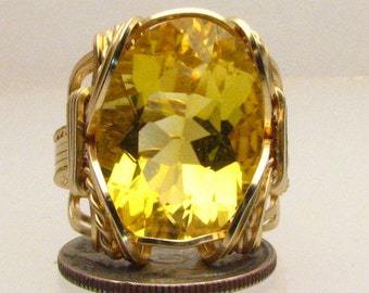 Handmade Artisan 14kt Gold Filled Wire Wrap Golden Citrine Gemstone Ring