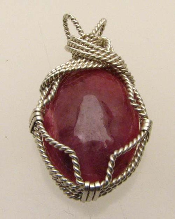 Handmade Solid Sterling Silver Wire Wrap Red Sodalite Cabochon Pendant