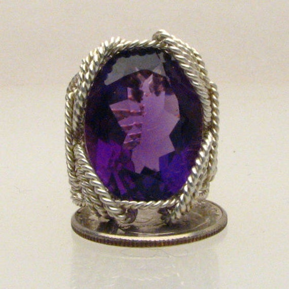 Handmade Solid Sterling Silver Wire Wrap Amethyst Gemstone Ring