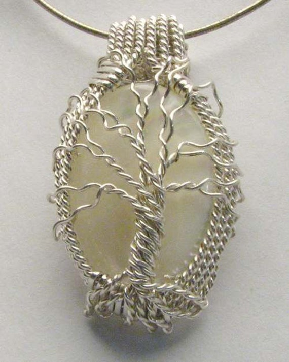 Artisan Handmade Solid Sterling Silver Wire Wrap Mother of Pearl Gemstone Family Tree Pendant