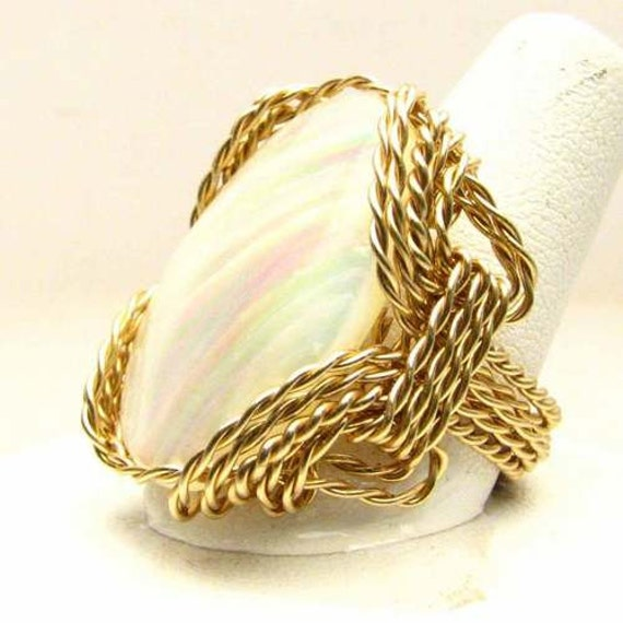 Handmade 14kt Gold Filled Wire Wrap Mother of Pearl Ring