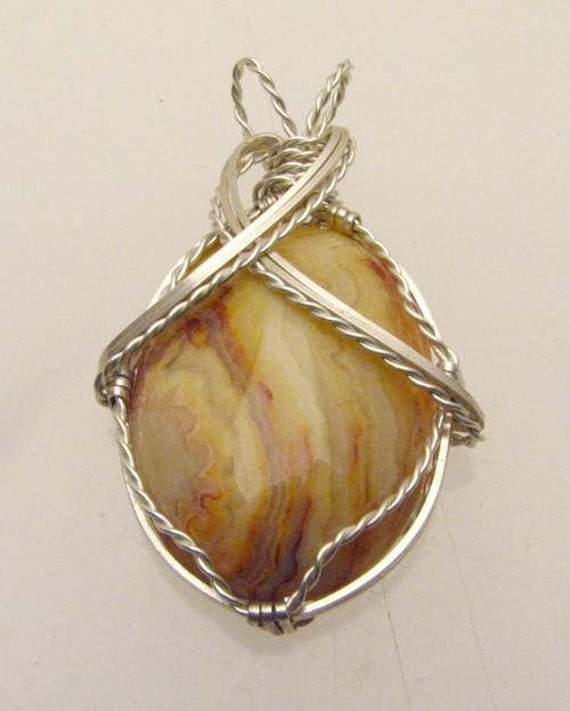 Handmade Solid Sterling Silver Wire Wrap Crazy Lace Agate Pendent