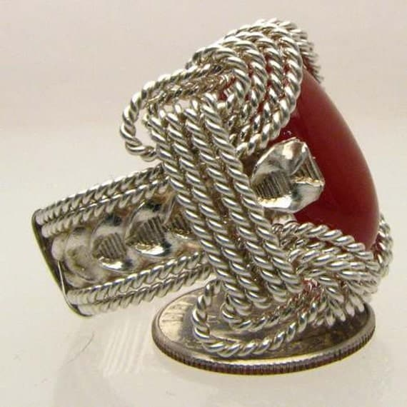 Handmade Solid Sterling Silver Wire Wrap Carnelian Ring