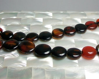 Dream Agate Coin shape 24pc Bead strand Brown, Rust, Black