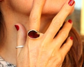 Pink Tourmaline Cocktail Ring Freeform Rosecut Passion Ring  OOAK US Size 7 3/4