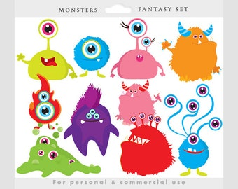 Monster clipart - monsters clip art, whimsical, cute, aliens, colorful, characters, personal and commercial use for invitations scrapbooking