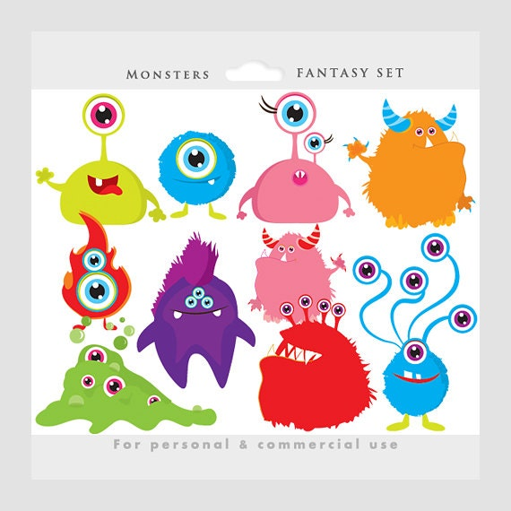 Character Drawings Portraits And Monsters: Monster Clipart Monsters Clip Art Whimsical Cute Aliens