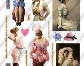 Digital Collage Sheet  Risque Lady Images  (Sheet no. O143) Ephemera-Instant Download