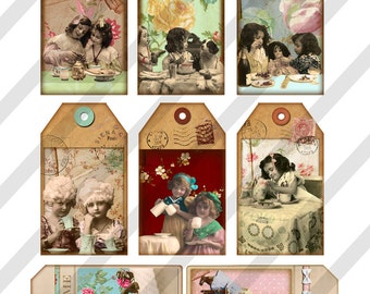 Digital Collage Sheet  Tea Time Tags (Sheet no. O131) Instant Download