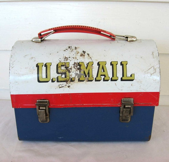 Vintage 1960 S Metal Us Mail Rural Mailbox Lunch Box W