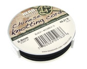 BLACK Chinese Knotting Cord - 0.8mm Fine Cord - 49 Feet / 15 Meters - Nylon Cord for Knotting Braiding Macrame Kumihimo Supplies - Jet Black