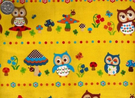 Half Yard Japanese Cotton Fabric Canvas Owl Caterpillar Mushroom Flowers Border Yellow