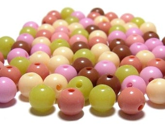 8mm Smooth Round Acrylic Beads Cantaloupe mix 100pcs