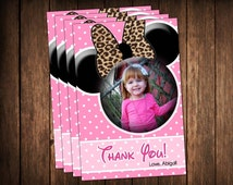 Pink Minnie Mouse Leopard Print Thank You Cards with Photo