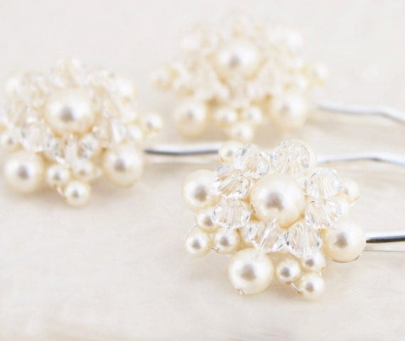 Wedding Bridal Bridesmaid Pearl and Crystal Hair Pin Set of Three